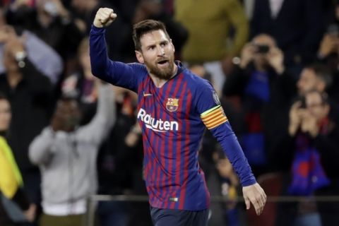 Barcelona's Lionel Messi celebrates after scoring his side's second goal during the Champions League semifinal, first leg, soccer match between FC Barcelona and Liverpool at the Camp Nou stadium in Barcelona, Spain, Wednesday, May 1, 2019. (AP Photo/Emilio Morenatti)