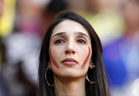 A Colombian fan looks on after the group H match between Colombia and Japan at the 2018 soccer World Cup in the Mordavia Arena in Saransk, Russia, Tuesday, June 19, 2018. Japan won the match 2-1. (AP Photo/Natacha Pisarenko)