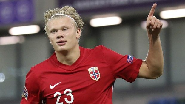 Norway's Erling Braut Haaland celebrates his goal against Northern Ireland during the UEFA Nations League soccer match between Northern Ireland and Norway at Windsor Park, Belfast, Northern Ireland, Monday Sept. 7, 2020. (AP Photo/Peter Morrison)
