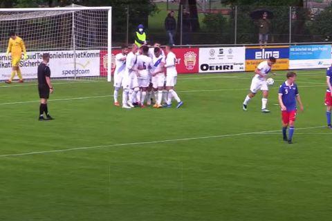 Οι παίκτες της Εθνικής Ελλάδας Κ21 πανηγυρίζουν γκολ κόντρα στον Λιχτενστάιν για τα προκριματικά του Ευρωπαϊκού Πρωταθλήματος (5 Ιουνίου 2021)