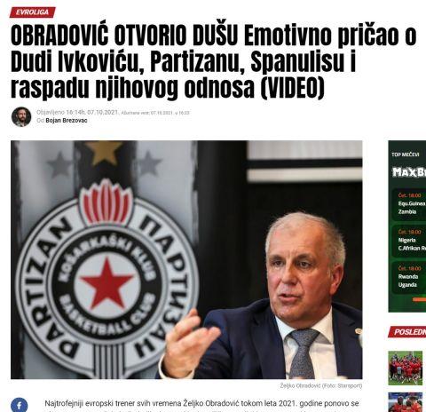 Tο θέμα του Maxbet για την συνέντευξη του Ομπράντοβιτς στο SPORT24