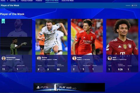 Η ανακοίνωση της UEFA για τον παίκτη της εβδομάδας