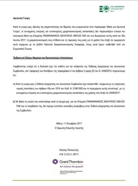 Η έκθεση της Grant Thornton για την ΠΑΕ Παναθηναϊκός