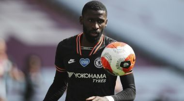 Chelsea's Antonio Rudiger in action during the English Premier League soccer match between Aston Villa and Chelsea at the Villa Park stadium in Birmingham, England, Sunday, June 21, 2020. (Molly Darlington/Pool via AP)