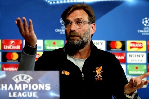 Liverpool coach Jurgen Klopp talks during a press conference in Manchester, England, Monday, April 9, 2018, on the eve of the Champions League quarter-final second leg soccer match against Manchester City. (Richard Sellers/PA via AP)