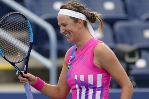 Victoria Azarenka, of Belarus, reacts after winning a match against Donna Vekic, of Croatia, at the Western & Southern Open tennis tournament, Saturday, Aug. 22, 2020, in New York. (AP Photo/Frank Franklin II)
