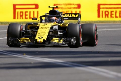 Renault driver Carlos Sainz of Spain drives his car during the first practice session at the Australian Formula One Grand Prix in Melbourne, Friday, March 23, 2018. The first race of the 2018 seasons is on Sunday. (AP Photo/Asanka Brendon Ratnayake)