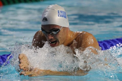 Antreas Vazaios of Greece competes in the men's 200 meters individual medley heat during the FINA Short Course Swimming World Championships at the Sinan Erdem Arena in Istanbul, Friday, Dec. 14, 2012. (AP Photo/Thanassis Stavrakis)