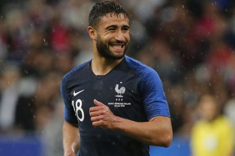 France's Nabil Fekir smiles during his friendly soccer match against Ireland at the Stade de France stadium, in Saint Denis, north of Paris, France, Monday, May, 28, 2018. (AP Photo/Thibault Camus)