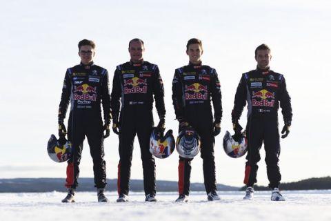 Sebastien Loeb , Kevin Hansen , Timmy Hansen, Davy Jeanney pose for a portrait during Rallycross on Ice 2016 Sweden in Are, Sweden on 16 February 2016