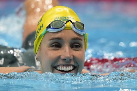 Emma Mckeon, of Australia, smiles after winning the gold medal in a women's 50-meter freestyle final at the 2020 Summer Olympics, Sunday, Aug. 1, 2021, in Tokyo, Japan. (AP Photo/David Goldman)