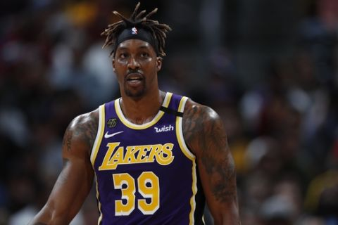 Los Angeles Lakers center Dwight Howard (39) in the second half of an NBA basketball game Wednesday, Feb. 12, 2020, in Denver. The Lakers won 120-116 in overtime. (AP Photo/David Zalubowski)