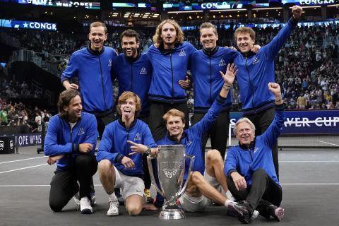 Η Team Europe μετά τον θρίαμβο στο Laver Cup επί της Team World