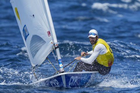 Ο Παύλος Κοντίδης στην κούρσα του μονού Laser στους Ολυμπιακούς Αγώνες του Τόκιο