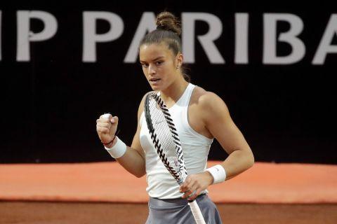Η Μαρία Σάκκαρη πανηγυρίζει πόντο της στο Italian Open