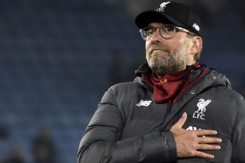 Liverpool's manager Jurgen Klopp during the English Premier League soccer match between Wolverhampton Wanderers and Manchester City at the Molineux Stadium in Wolverhampton, England, Friday, Dec. 27, 2019. (AP Photo/Rui Vieira)