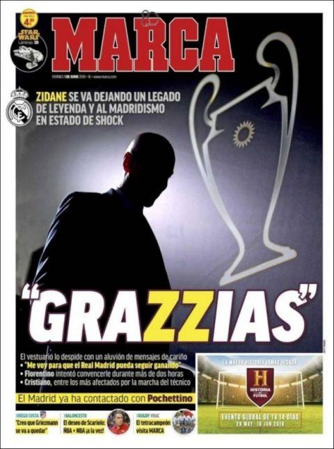 """Το πρωτοσέλιδο της """"Marca"""" για τον Ζιντάν"""
