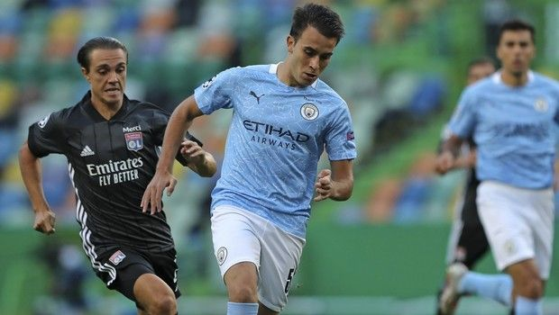 Manchester City's Eric Garcia runs with the ball during the Champions League quarterfinal soccer match between Lyon and Manchester City at the Jose Alvalade stadium in Lisbon, Portugal, Saturday, Aug. 15, 2020. (Miguel A. Lopes/Pool via AP)