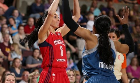 ROCHESTER, MN - MAY 8:  Zoi Dimitrakou #6 of the Washington Mystics looks to pass against Maya Moore #23 of the Minnesota Lynx during the preseason game on May 8, 2016 at the Mayo Civic Center in Rochester, Minnesota.  NOTE TO USER: User expressly acknowledges and agrees that, by downloading and or using this Photograph, user is consenting to the terms and conditions of the Getty Images License Agreement. Mandatory Copyright Notice: Copyright 2016 NBAE (Photo by David Sherman/NBAE via Getty Images)