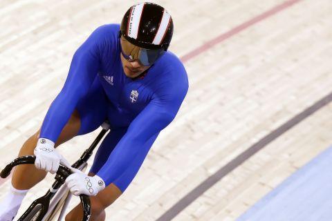 Ο Χρήστος Βολικάκης σε στιγμιότυπο αγώνα του τουρνουά ποδηλασίας πίστας των Ολυμπιακών Αγώνων 2012, Λονδίνο | Τρίτη 7 Αυγούστου 2012