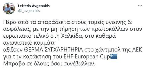 """Αυγενάκης για τον κόσμο στον τελικό της ΑΕΚ: """"Δεν είναι αποδεκτές τέτοιες εικόνες και επισύρουν συνέπειες"""""""