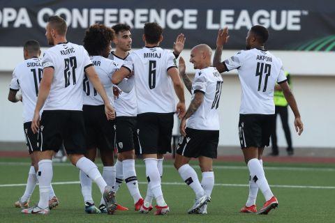 Οι παίκτες του ΠΑΟΚ πανηγυρίζουν τα γκολ τους επί της Λίνκολν στο ματς του Europa Conference League | 16 Σεπτεμβρίου 2021