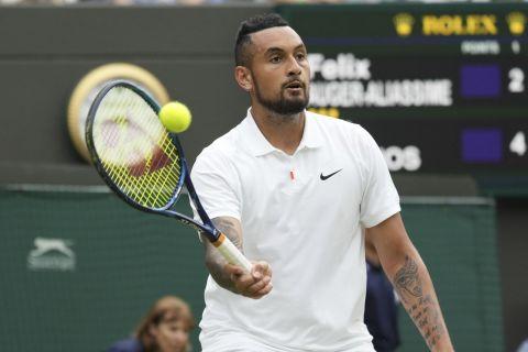 Ο Κύργιος στην αναμέτρηση κόντρα στον Αλιασίμ στο Wimbledon.