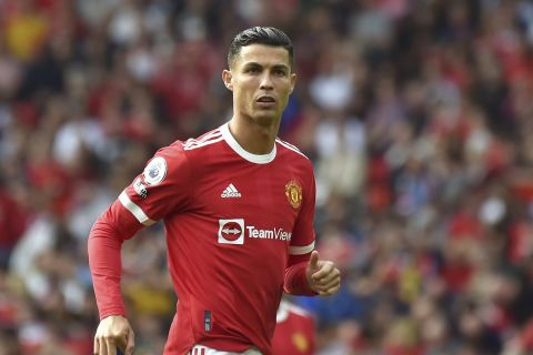 Manchester United's Cristiano Ronaldo during the English Premier League soccer match between Manchester United and Newcastle United at Old Trafford in Manchester, England, Saturday, Sept.11, 2021. (AP Photo/Rui Vieira)