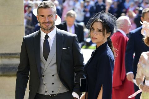 David and Victoria Beckham arrive for the wedding ceremony of Prince Harry and Meghan Markle at St. George's Chapel in Windsor Castle in Windsor, near London, England, Saturday, May 19, 2018. (Ian West/pool photo via AP)