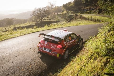 Kris Meeke (GBR) performs during the rally Shakedown in Bastia on the island of Corsica on April 5, 2018. The Shakedown allows drivers do a final test of the car's mechanics and settings prior to tomorrow's race start for the FIA World Rally Championship 2018 in Corsica, France // Jaanus Ree/Red Bull Content Pool via AP Images  // For more content, pictures and videos like this please go to http://www.redbullcontentpool.com