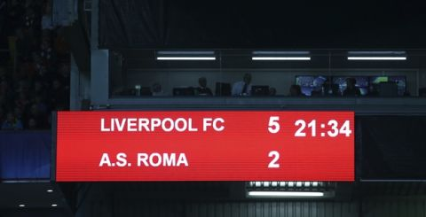 The scoreboard show the result at the end of the Champions League semifinal, first leg, soccer match between Liverpool and AS Roma at Anfield Stadium, Liverpool, England, Tuesday, April 24, 2018. Liverpool won 5-2. (AP Photo/Dave Thompson)