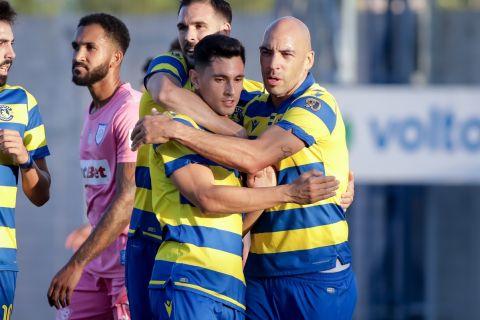 Οι παίκτες του Αστέρα πανηγυρίζουν το γκολ κόντρα στον ΠΑΣ Γιάννινα