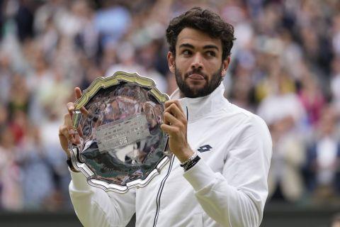 Ο Ματέο Μπερετίνι μετά την ήττα του από τον Νόβακ Τζόκοβιτς στον τελικό του Wimbledon Open 2021 | 11 Ιουλίου 2021