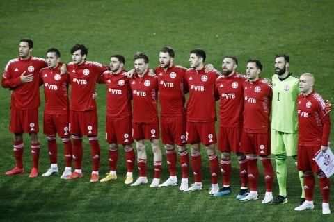 Οι παίκτες της Γεωργίας στην αναμέτρηση κόντρα στην Ελλάδα στην Τούμπα για τα προκριματικά του Παγκοσμίου Κυπέλλου.