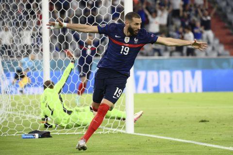 Ο Καρίμ Μπενζεμά πανηγυρίζει στο Euro 2020 γκολ κόντρα στη Γερμανία