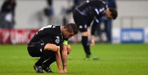 MOENCHENGLADBACH, GERMANY - SEPTEMBER 30:  Granit Xhaka of Borussia Monchengladbach looks dejected after defeat in the UEFA Champions League Group D match between VfL Borussia Monchengladbach and Manchester City at the Borussia Park Stadium on September 30, 2015 in Moenchengladbach, Germany.  (Photo by Lars Baron/Bongarts/Getty Images)