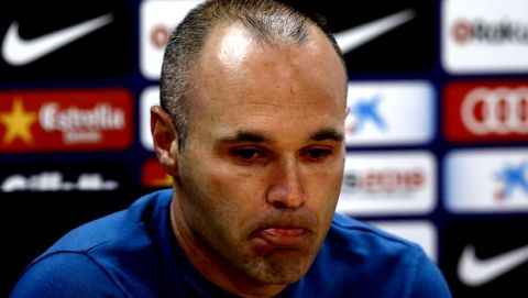 F.C. Barcelona player Andres Iniesta during news conference announcing he is leaving the Spanish club after 16 seasons in Barcelona on Friday, April. 27, 2018. Iniesta joined Barcelona's youth academy at age 12. He went on to become one of the best players in its history by helping it win 31 titles, a record he shares for the club with Lionel Messi. (AP Photo/Manu Fernandez)