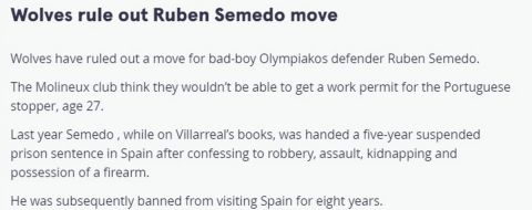 "Mirror: ""Η Γουλβς απέκλεισε τη μεταγραφή του Σεμέδο λόγω της visa"""