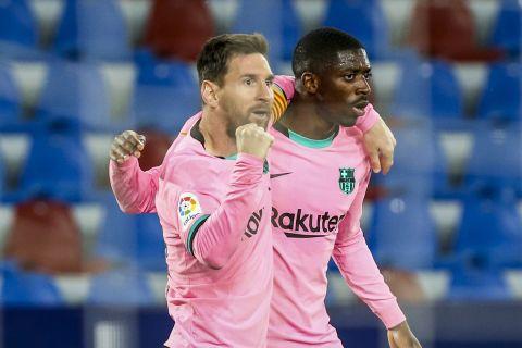 Ο Μέσι πανηγυρίζει μετά το γκολ που πέτυχε στην αναμέτρηση της La Liga ανάμεσα στην Μπαρτσελόνα και τη Λεβάντε /11-5-2021