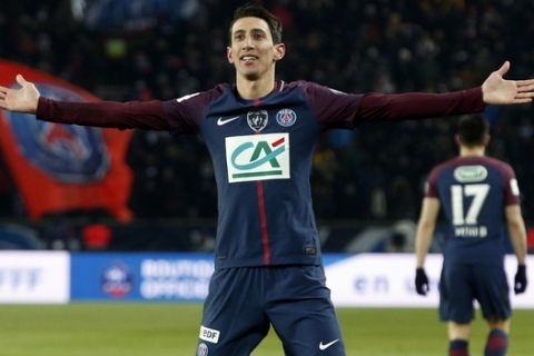 PSG's Angel Di Maria celebrates after scoring his side's opening goal during the French Cup soccer match between Paris Saint-Germain and Marseille at the Parc des Princes Stadium, in Paris, France, Wednesday, Feb. 28, 2018. (AP Photo/Thibault Camus)