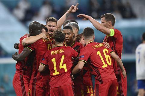 Οι παίκτες του Βελγίου πανηγυρίζουν γκολ κόντρα στο Βέλγιο - Ρωσία για το Euro 2020.
