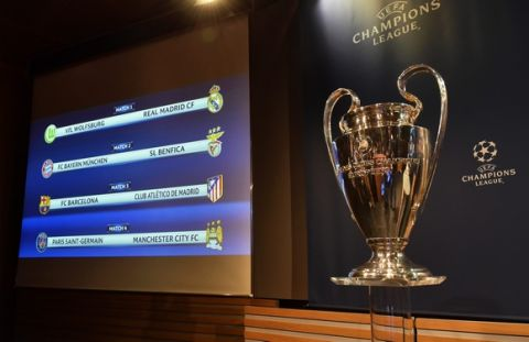 epa05218061 The match fixtures are displayed on an electronic panel next to the Champions League trophy following the draw of the UEFA Champions League 2015-16 quarter final matches at the UEFA Headquarters in Nyon, Switzerland, 18 March 2015.  EPA/CHRISTIAN BRUN