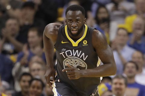Golden State Warriors forward Draymond Green (23) against the Houston Rockets during Game 4 of the NBA basketball Western Conference Finals in Oakland, Calif., Tuesday, May 22, 2018. (AP Photo/Marcio Jose Sanchez)