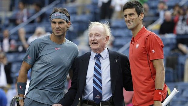 Rafael Nadal, of Spain, left, and Novak Djokovic, of Serbia, pose for a photo with former Australian professional tennis star Rod Laver before the men's singles final of the 2013 U.S. Open tennis tournament, Monday, Sept. 9, 2013, in New York. (AP Photo/David Goldman)