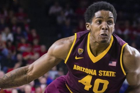 Arizona State forward Shaquielle McKissic drives to the basketb during the second half of an NCAA college basketball game in the NIT in Richmond, Va., on Sunday, March 22, 2015.  Richmond won 76-70 in overtime. (AP Photo/Zach Gibson)