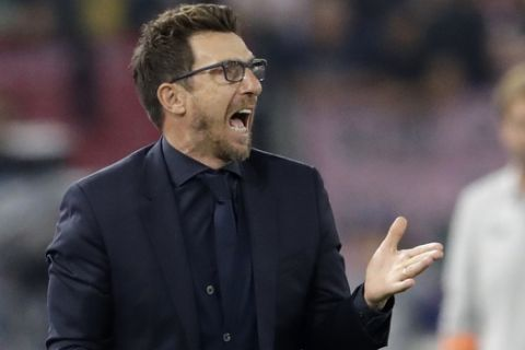 Roma coach Eusebio Di Francesco shouts to his team during the Champions League semifinal second leg soccer match between Roma and Liverpool at the Olympic Stadium in Rome, Wednesday, May 2, 2018. (AP Photo/Andrew Medichini)