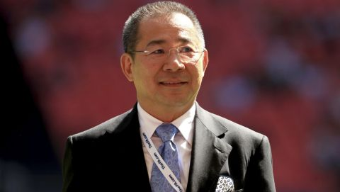 FILE - A July 8, 2016 file photo,of Leicester City's chairman Vichai Srivaddhanaprabha in London. Leicester owner Vichai Srivaddhanaprabha was one of five people to die when a helicopter crashed Saturday evening, Oct. 27, 2018 near the King Power Stadium, the club have confirmed in a statement.  (Adam Davy/PA via AP)