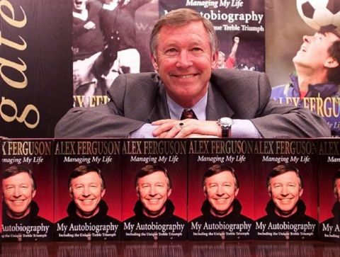 This picture may only be used within the context of an editorial. Manchester United manager Sir Alex Ferguson at the first book signing for his new autobiography at Waterstones bookshop in Manchester.