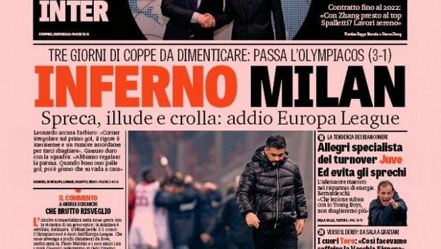 """Ολυμπιακός – Μίλαν: Τα ιταλικά πρωτοσέλιδα για την κόλαση και το πατατράκ των """"ροσονέρι"""""""