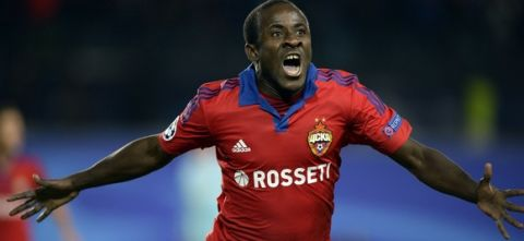 CSKA Moscow's Ivorian forward Seydou Doumbia celebrates a goal during the UEFA Champions League group B football match between CSKA Moscow and PSV Eindhoven at the Khimki Arena outside Moscow on September 30, 2015. AFP PHOTO / ALEXANDER NEMENOV        (Photo credit should read ALEXANDER NEMENOV/AFP/Getty Images)